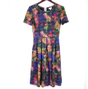 Lularoe Multi-Colored Amelia Dress Pockets Medium